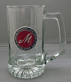 GLASS BEER MUG W/PEWTER EMBLEM